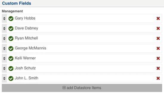 Team Datastore Entries